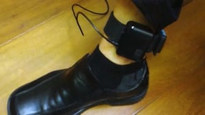 Electronic monitoring ankle bracelet, not in use