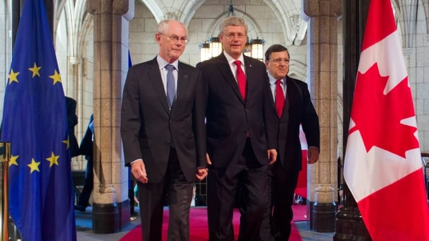 European Council President Herman Van Rompuy (left), Canadian Prime Minister Stephen Harper and European Commission President Jose Manuel Barroso arrive on Parliament Hill on Friday.
