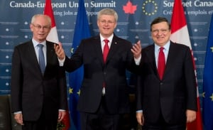 Stephen Harper with EU leaders on Parliament Hill