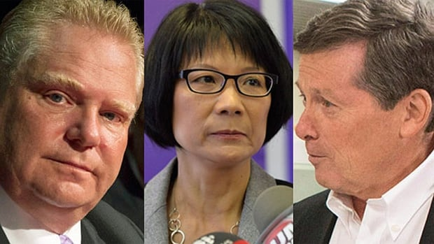 Doug Ford, left, Olivia Chow, centre, and John Tory, right, are the three leading candidates in the Toronto race for mayor, though more than 60 candidates are registered.