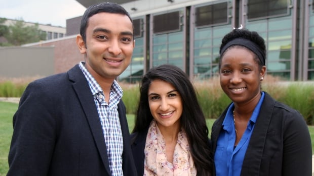 Global Hamilton Connect executive members, from left, Harin Dalal, Layla Abdulrahim and Rouxanne Irving, hope to keep more young, talented people in the city.