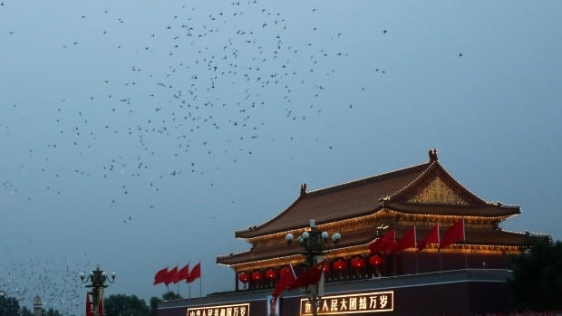 Ten thousand doves released in a ceremony Wednesday for China's National Day underwent a cavity search for 'suspicious' materials.