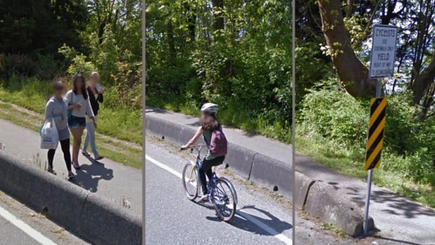 Three images taken from Google Street View show, from left to right: walkers on the separated pathway on the beach side of NW Marine Drive near UBC; a cyclist on the part way up the hill on the roadway; and a sign at the base of the hill instructing cyclists to stick to the pathway, and to stay off the road.