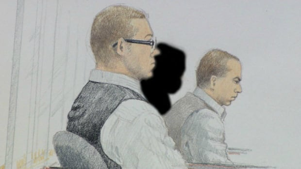 Matthew Johnston, on the left, and Cody Haevischer are depicted in this sketch made in a B.C. Supreme Court courtroom.