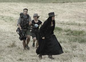 Cara Gee on set of Strange Empire