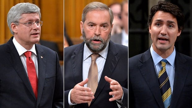NDP Leader Thomas Mulcair, centre, continues to hold a narrow edge over the Conservatives led by Stephen Harper, left, and Liberal Leader Justin Trudeau.