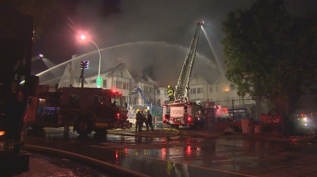 Flames visible at fire at Granville and 49th