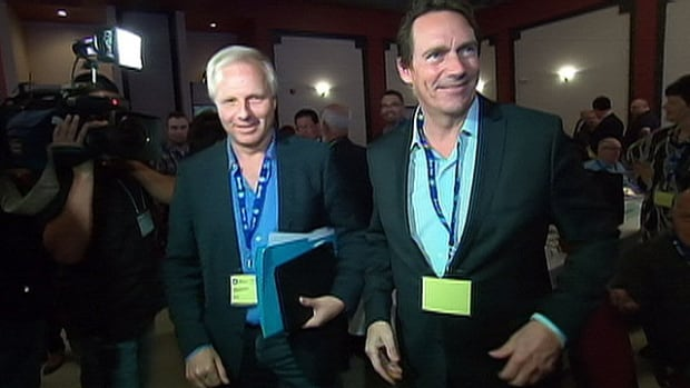 Jean-François Lisée (left) and Pierre Karl Péladeau are so far considered to be two of the top contenders for the PQ leadership spot.