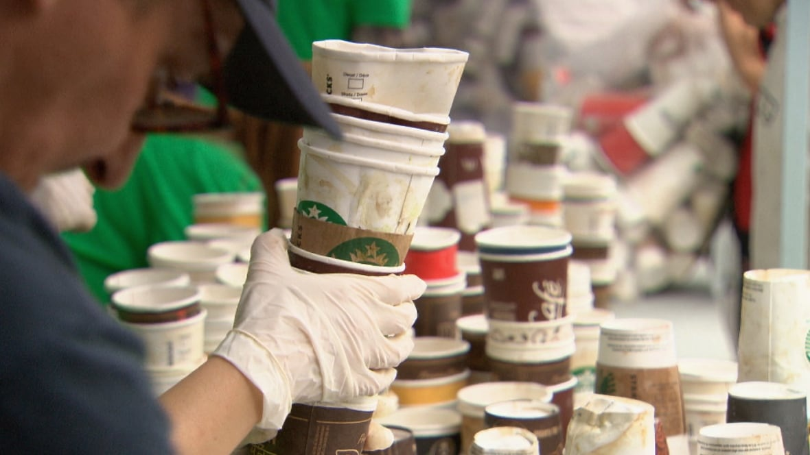 A city report says 2.6 million paper coffee cups head to Vancouver  landfills every week. (CBC)