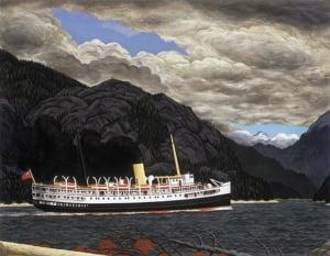 E.J. Hughes - Steamer in Grenville Channel, B.C.- 1952