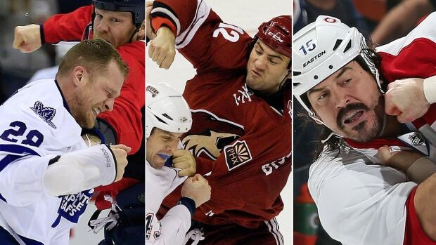 From left, enforcers Colton Orr, Paul Bissonnette and George Parros will not be on an NHL roster when the regular season begins Wednesday. Fewer than half the league's 30 teams now employ a heavyweight brawler.
