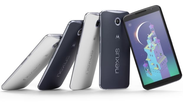 The Nexus 6 phone has a nearly 6-inch screen, eclipsing the 5.5-inch display on the iPhone 6 Plus that Apple began selling last month.