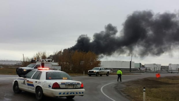 An fire at an empty crude oil tank near Hardisty has injured one worker.