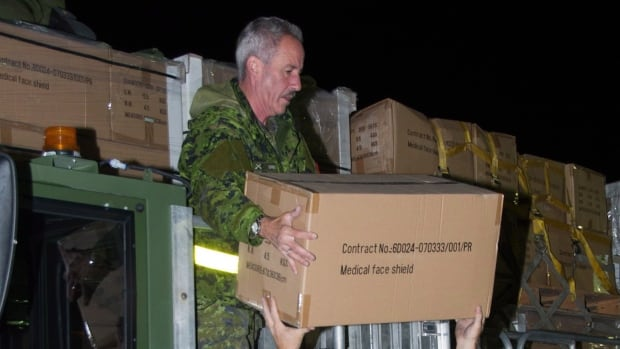 Members of 8 Wing Trenton load boxes of face shields onto a Hercules aircraft bound for Freetown, Sierra Leone, on Oct. 6. Canada is contributing another $30 million in aid to help contain the Ebola outbreak in West Africa.