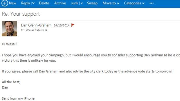 Email from Dan Glenn-Graham