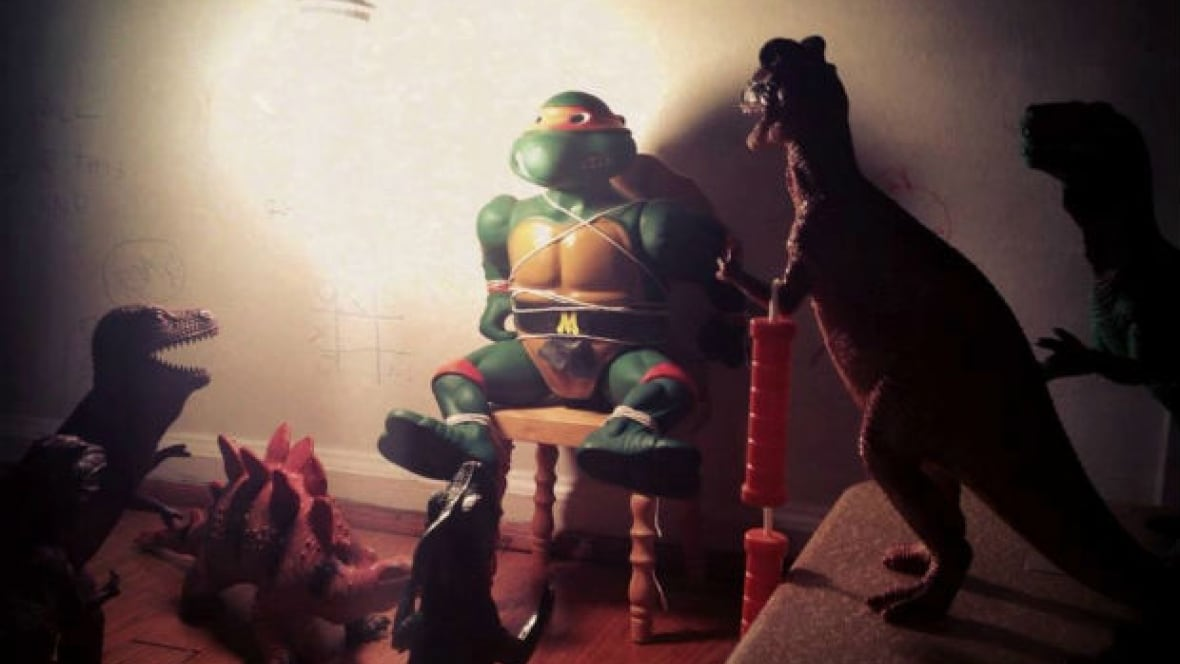 Playful parents mess up the house for Dinovember