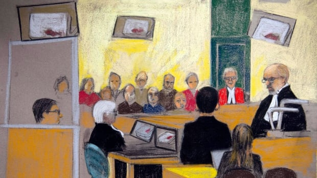 An artist's sketch shows the Montreal courtroom where the trial of Luka Magnotta is taking place. Last week, jurors were shown a graphic 10-minute video depicting a body believed to be that of Jun Lin being dismembered and stabbed with a screwdriver by a man believed to be Magnotta.