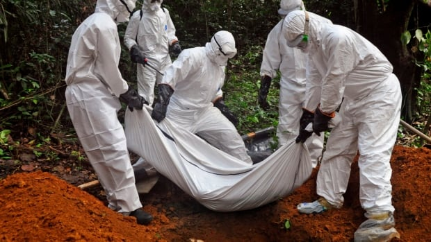 Health workers bury the body of a woman who is suspected of having died of the Ebola virus in Bomi county, on the outskirts of Monrovia, Liberia on Monday. If  experimental Ebola vaccines are deemed safe, tens of thousands of doses would be used in a West African trial in January, the World Health Organization says.