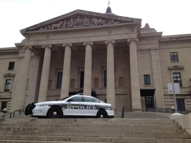 Police on steps of legislature