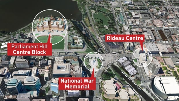 The shootings in Ottawa began at the National War Memorial at 9:52 a.m.. A few minutes later shots rang out at the Parliament buildings.