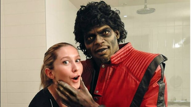 Michael Jackson, er, P.K. Subban, right, poses in his Halloween cotume with makeup artist Liza-Marie Charron.