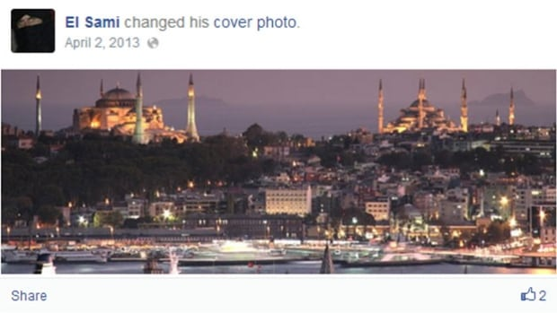 Sami, a Montrealer in his 20s, posted this picture of Istanbul on his Facebook page last year, when he left Canada to wage jihad.