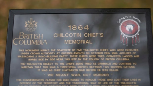 A plaque recognizing five wrongfully hung Tsilhqot'in Chiefs is pictured near the Fraser River in Quesnel, B.C. Thursday, Oct. 23, 2014. The government exonerated the Chiefs in the B.C. Legislature on Thursday and a memorial day will be held in Quesnel on Sunday to commemorated the 150th year of their hangings.
