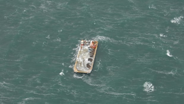 This photo of an unmanned NTCL barge adrift in the Beaufort Sea off the coast of Alaska was taken on Wednesday by a Transport Canada aerial surveillance plane.