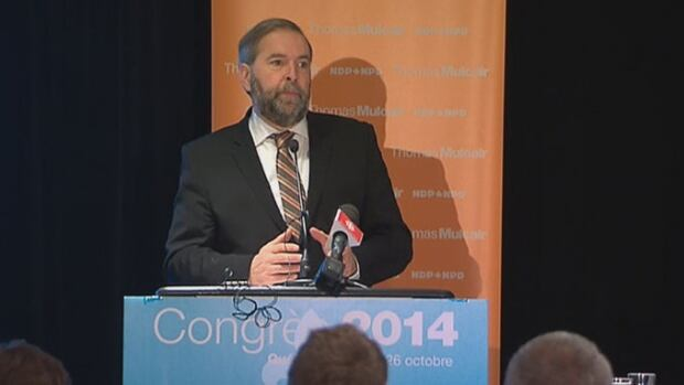 NDP leader Thomas Mulcair speaking to party members in Quebec City