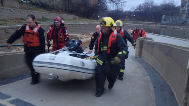 Fire and rescue crews used a boat to rescue a man from the Assiniboine River on Monday evening.