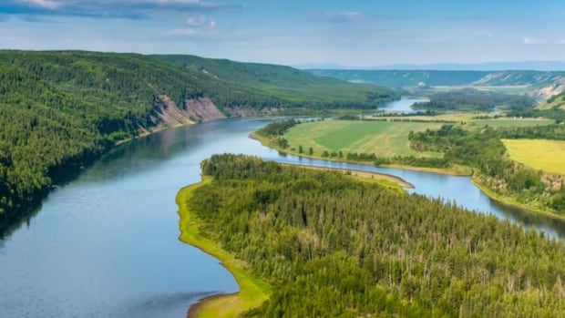 A view shows a portion of the Peace River Valley that would be flooded by the construction of the Site C dam.