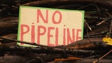 Kinder Morgan Burnaby Mountain pipeline protest sign