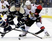 Curtis Lazar, Ottawa Senators, and Artem Anisimov, Columbus Blue Jackets