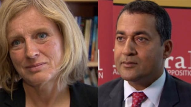 NDP leader Rachel Notley (left) and the Liberals' Raj Sherman (right) say they have a growing base of support to make a breakthrough in the next election.