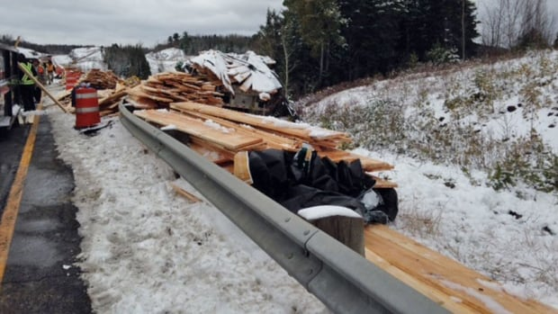 Transport truck lost load of lumber on Trans-Canada Highway