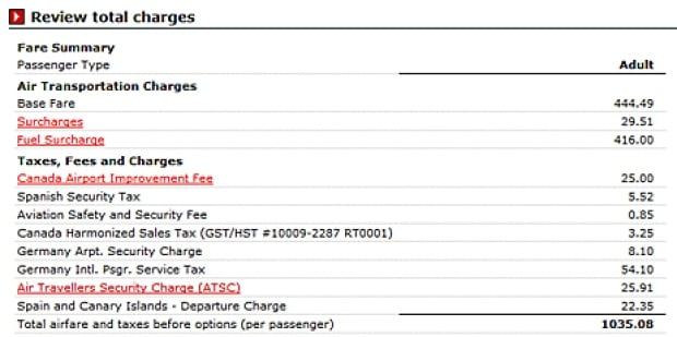 Air Canada charges, details