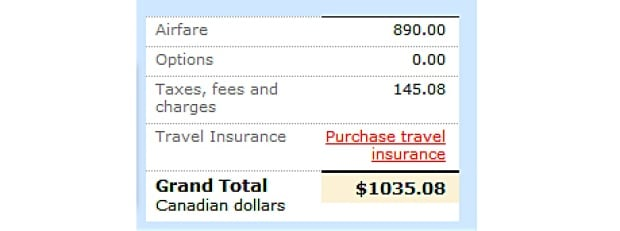 Air Canada purchase confirmation