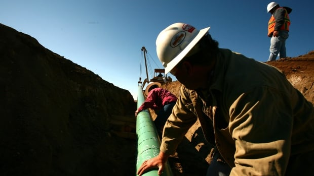 A crew constructs a 25 cm gas pipeline in North Dakota. TransCanada Corp. says the cost of the Keystone XL pipeline is now $8 billion US.