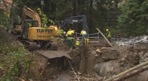 North Vancouver District crews - collapsed road, culvert -Nov. 4, 2014