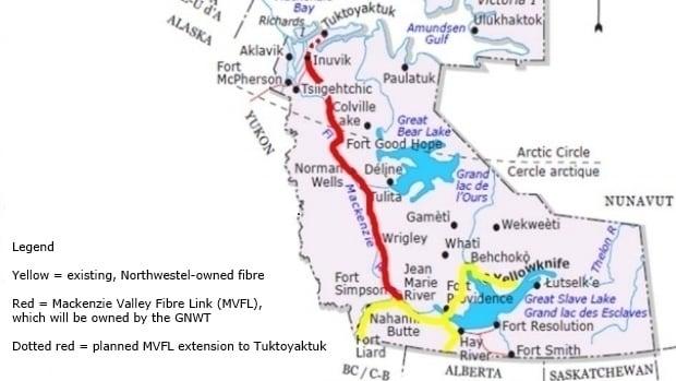 Map NWT Fibre Optic Lines