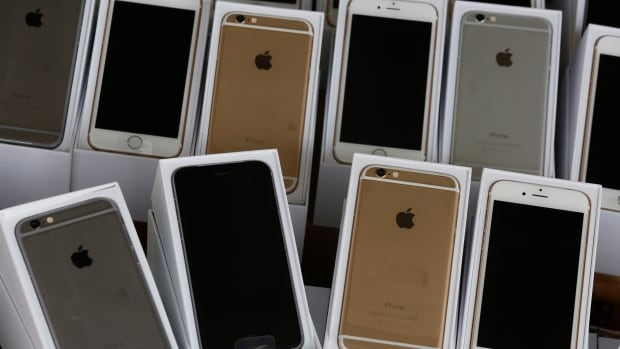 Apple's iPhone 6 are displayed during a news conference by Customs and Excise Department and the police in Hong Kong on Sept. 21.