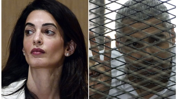 This composite shows human rights lawyer, Amal Clooney, (left) and imprisoned Canadian-Egyptian journalist, Mohamed Fahmy. Clooney is reportedly heading to Egypt to meet with top officials to push for Fahmy's release.