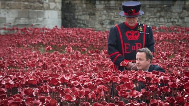 "Britain's Prime Minister David Cameron lays a poppy in the field of poppies at the Tower of London on Saturday. The poppies are part of a ceramic poppy installation called ""Blood Swept Lands and Seas of Red,"" marking the centenary of the outbreak of the First World War."