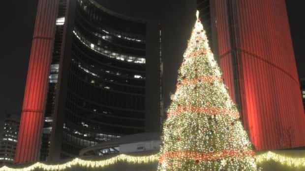 Toronto's official Christmas tree at last year's Cavalcade of Lights celebration.