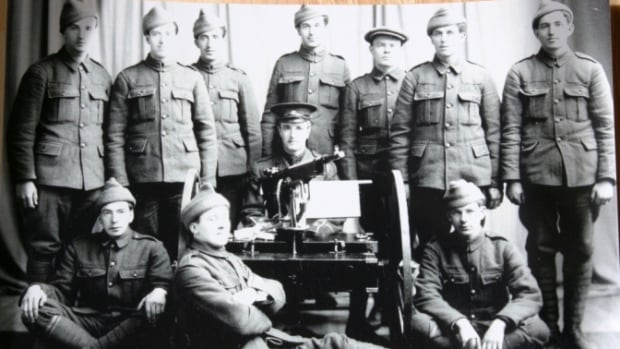 Francis Ernest LeMessurier, seen on the bottom left, fought with the Royal Newfoundland Regiment at the Battle of Beaumont-Hamel in the First World War.