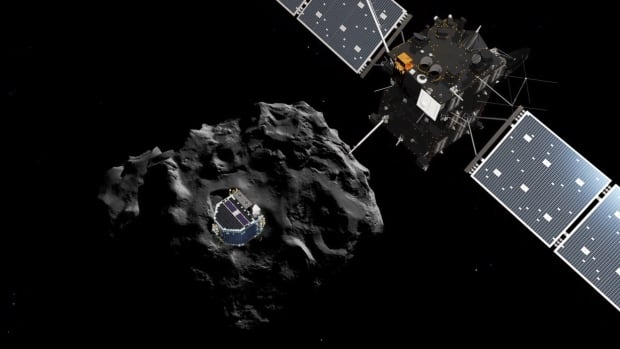 A simulation shows Rosetta's deployment of the Philae lander, with Comet 67P/Churyumov-Gerasimenko in the background.