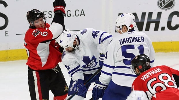 While some of their fans scrapped in the seats, the Senators and Leafs played a game in which not a single penalty for fighting or roughing was issued.