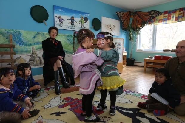 Young Inuit girls throatsinging