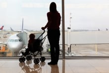 child silhouette airport
