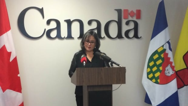 Minister of Environment and Minister of the Canadian Northern Economic Development Agency Leona Aglukkaq announces $6.7 million for geoscience research in Nunavut in Iqaluit on Friday.